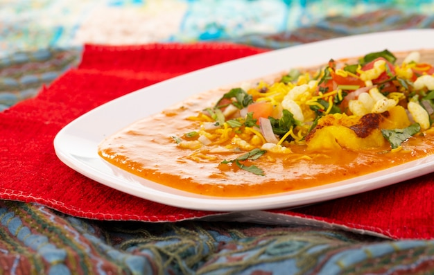 Indisch populair ragda pattice van het straatvoedsel