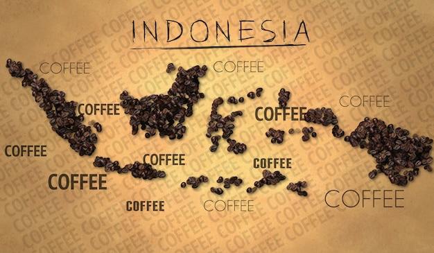 Indonesië kaart koffiebonen producent op oud papier