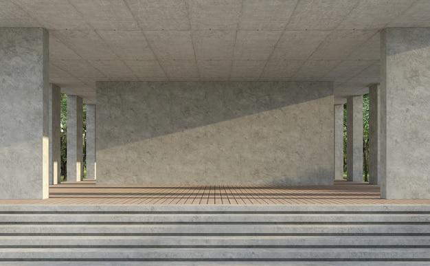 Indoor balnk concerte muur 3d render, er zijn houten plankenvloer, gepolijste betonnen muur, met natuur backgrond, zonlicht schijnt over de muur
