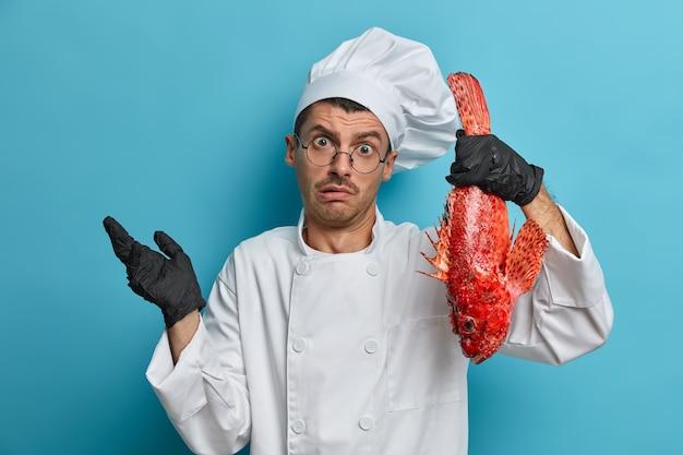 Indoor shot van professionele chef-kok, kookt gerecht van zeebaars, haalt verward zijn schouders op
