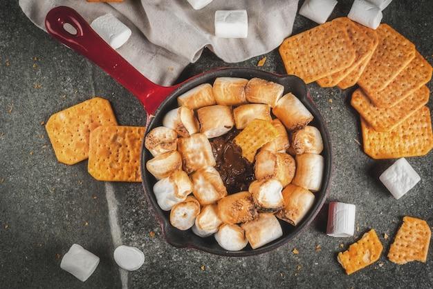 Indoor smores, gebakken smores dompelen in een gietijzeren koekenpan met graham crackers