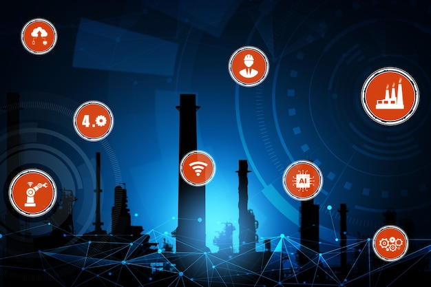 Industrie 4.0 technologieconcept - slimme fabriek voor vierde industriële revolutie