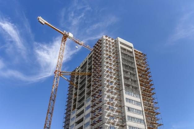 Industrieel landschap en het hijsen van torenkranen