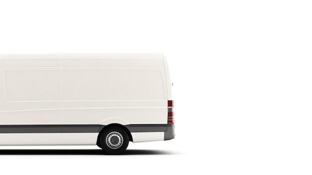 Industriële bestelwagen op een wit oppervlak, voor het kopiëren van advertentietekstruimte