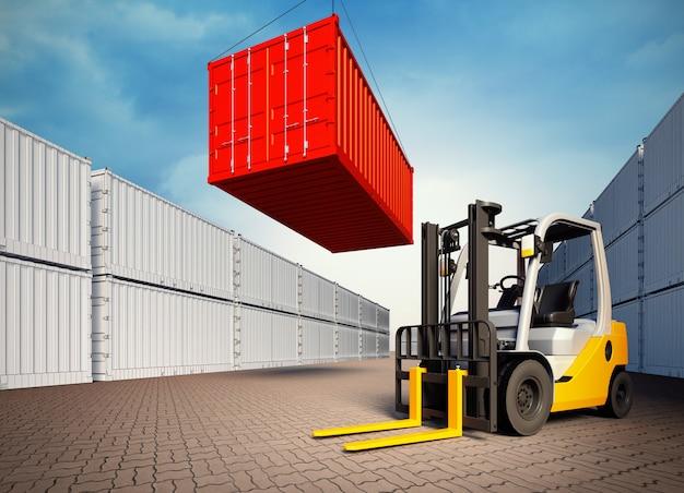 Industriële haven met containers en heftruck