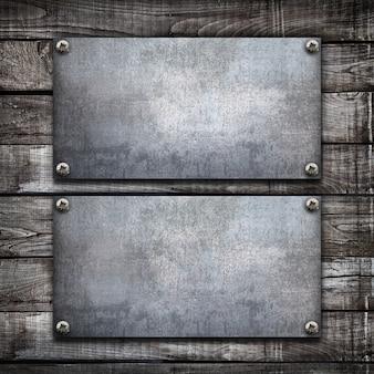 Industriële metaalplaat op houten