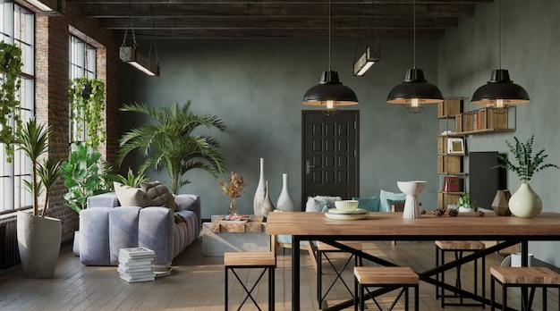 Industriële stijl van woonkamer loft-stijl 3d render