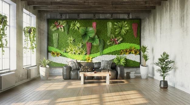 Industriële stijl van woonkamer met groene muur 3d render