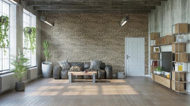 Industriële stijl van woonkamer met grungy muren loft-stijl 3d render