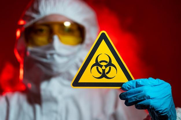 Infectionist heeft een biologisch gevaarlijk teken. gesloten zone, quarantaine