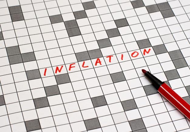Inflatie. tekst in kruiswoordraadsel. rode letters