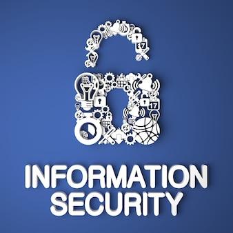Informatiebeveiligingskaart handgemaakt van papieren tekens op blauwe achtergrond