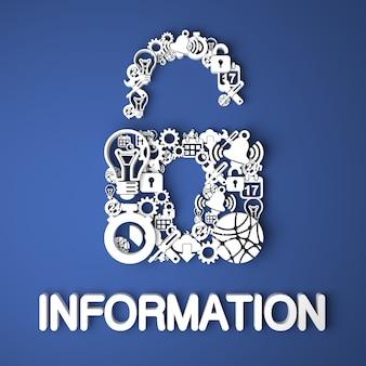 Informatiekaart handgemaakt van papieren tekens op blauwe achtergrond