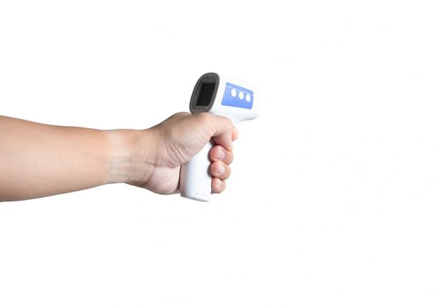 Infraroodthermometer meet de koorts covid-19 besmettelijke ziekte bij de hand