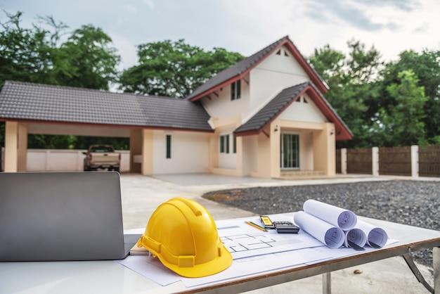 Ingenieur en architect huis blauwdrukken.