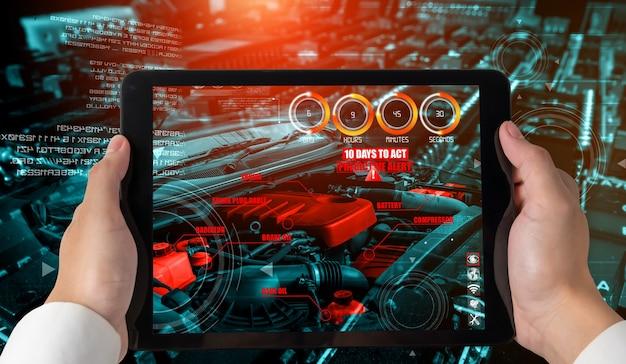 Ingenieur gebruikt augmented reality-software in de productielijn van slimme fabrieken