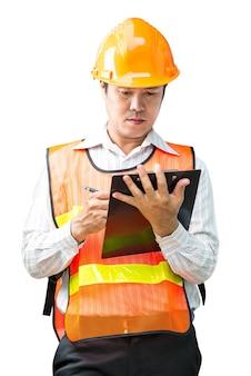 Ingenieur man in de veiligheid uniform geïsoleerd op wit