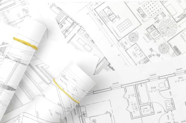 Ingenieur technische tekeningen technische industrie werk project papieren blauwdrukken