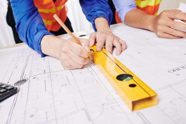 Ingenieur tekening gebouw blauwdruk