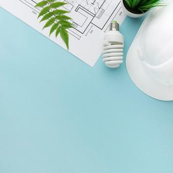 Ingenieurplan voor ecologie met exemplaarruimte