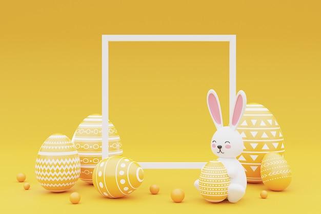 Ingericht konijntje en paaseieren met frame op gele achtergrond. concept van de paasvakantie. 3d-rendering.