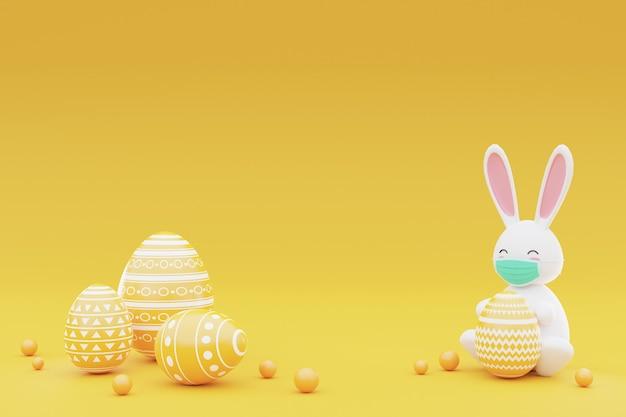 Ingericht konijntje en paaseieren op gele achtergrond. concept van de paasvakantie. 3d-rendering.