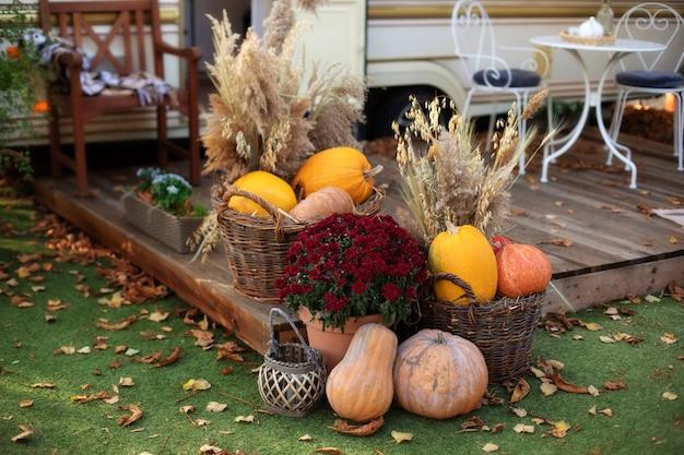 Ingerichte ingang van huis met pompoenen in mand en chrysant