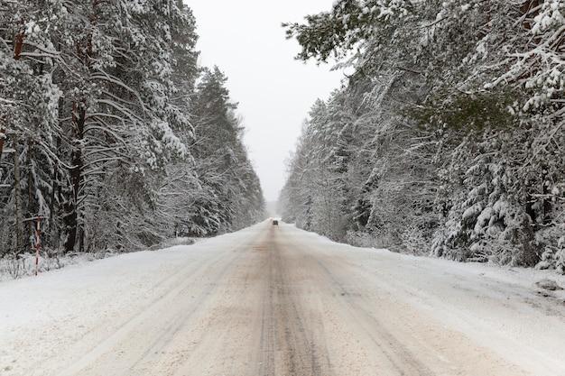 Ingesneeuwde winterweg die door het grondgebied van het bos, winterlandschap loopt