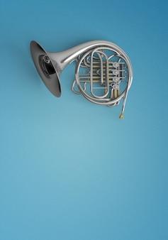 Ingetoetst trompet op een blauwe achtergrond
