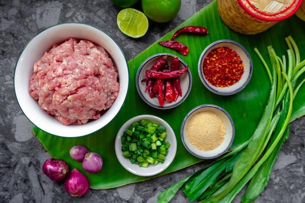 Ingrediënten van varkensvlees larb of pittig gehakt varkensvlees in bovenaanzicht