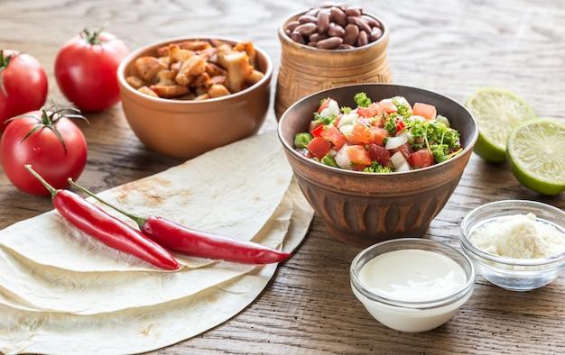 Ingrediënten voor burrito