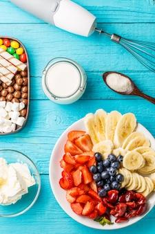 Ingrediënten voor fruitmilkshakes