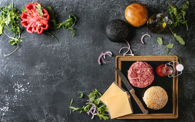 Ingrediënten voor hamburger