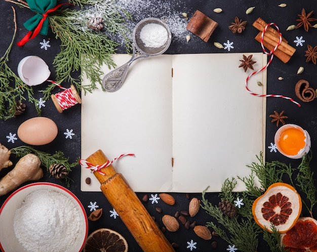 Ingrediënten voor het bakken van kerstmis