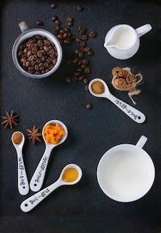 Ingrediënten voor het maken van pompoen latte