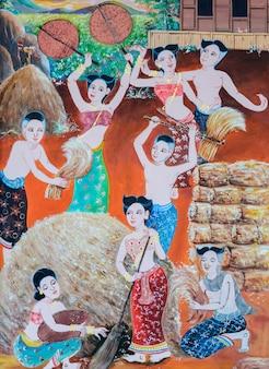 Inheemse thaise muurschildering van het festival van de rijstoogst