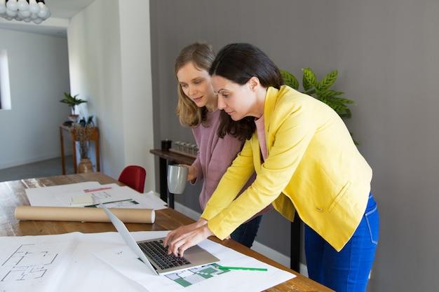 Inhouds vrouwelijke architect en klant die laptop computer met behulp van