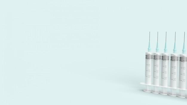 Injectienaald op blauwe pastel 3d-rendering voor medische inhoud.