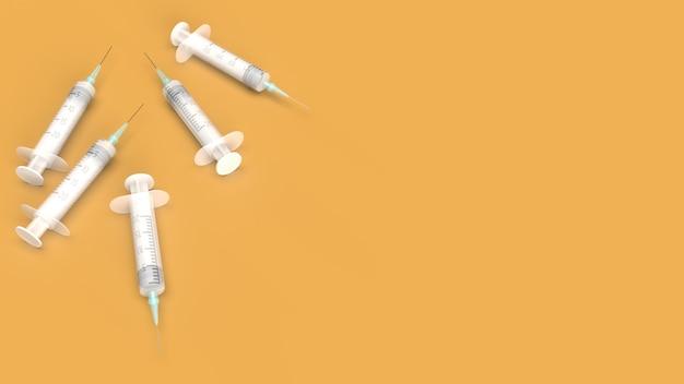 Injectienaald op oranje 3d-rendering voor medische inhoud.