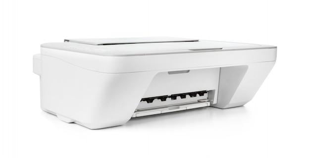 Inkjetprinter op witte achtergrond wordt geïsoleerd die