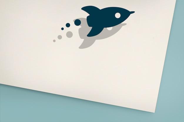 Innovatie ontwikkeling rocket graphic concept