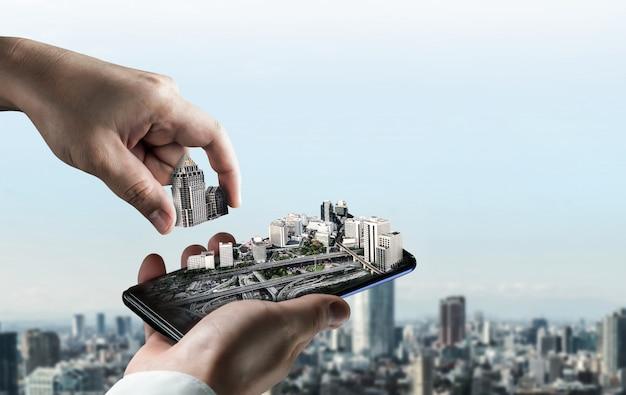 Innovatief bouwproject voor architectuur en civiele techniek. creatief grafisch ontwerp dat het concept van infrastructuurstadsbouw toont door professionele architect, arbeider en ingenieur.