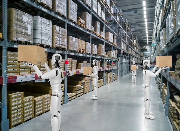 Innovatieve industrierobot die in het magazijn werkt voor vervanging van menselijke arbeid