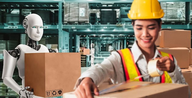 Innovatieve industrierobot die samen met menselijke arbeider in het magazijn werkt