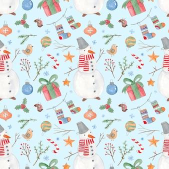 Inschrijving besneeuwde blauwe kerstmis naadloze patroon met schattige aquarel sneeuwmannen geschenkdoos vogels en ballen