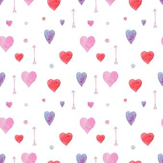 Inschrijving naadloze aquarel patroon met rode, blauwe en roze hartjes en pijlen
