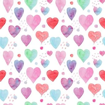 Inschrijving naadloze aquarel patroon met rode, blauwe en roze hartjes en stippen voor textielontwerp