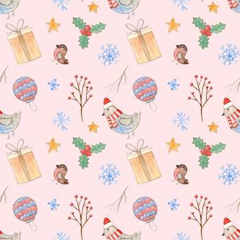 Inschrijving roze kerstmis naadloze patroon met schattige aquarel takken giftbox vogels en sneeuwvlokken