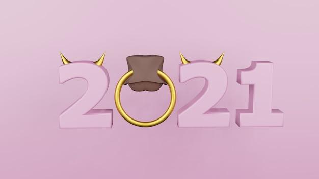 Inscriptie 2021 geïsoleerd op een witte achtergrond. gelukkig nieuwjaar 2021. illustratie voor reclame. 3d-weergave.