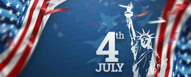 Inscriptie 4 juli op een blauwe achtergrond